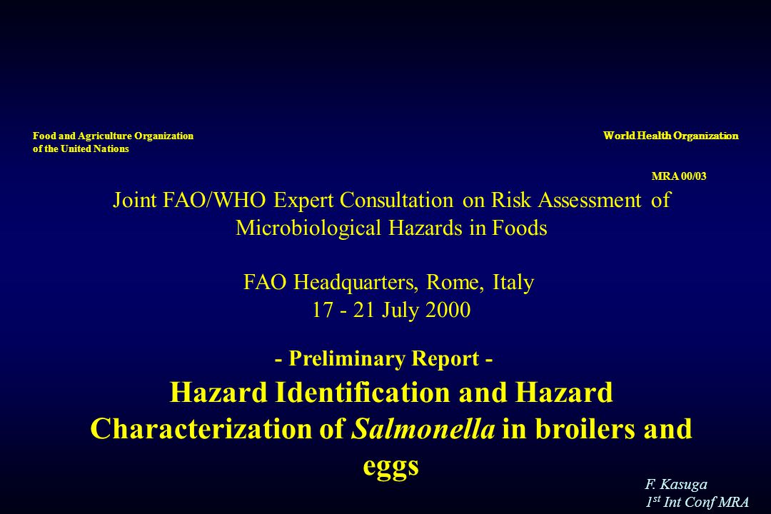 F. Kasuga 1 st Int Conf MRA MRA 00/03 Joint FAO/WHO Expert Consultation on Risk Assessment of Microbiological Hazards in Foods FAO Headquarters, Rome,