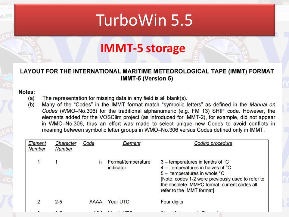 TurboWin 5.5 IMMT-5 storage