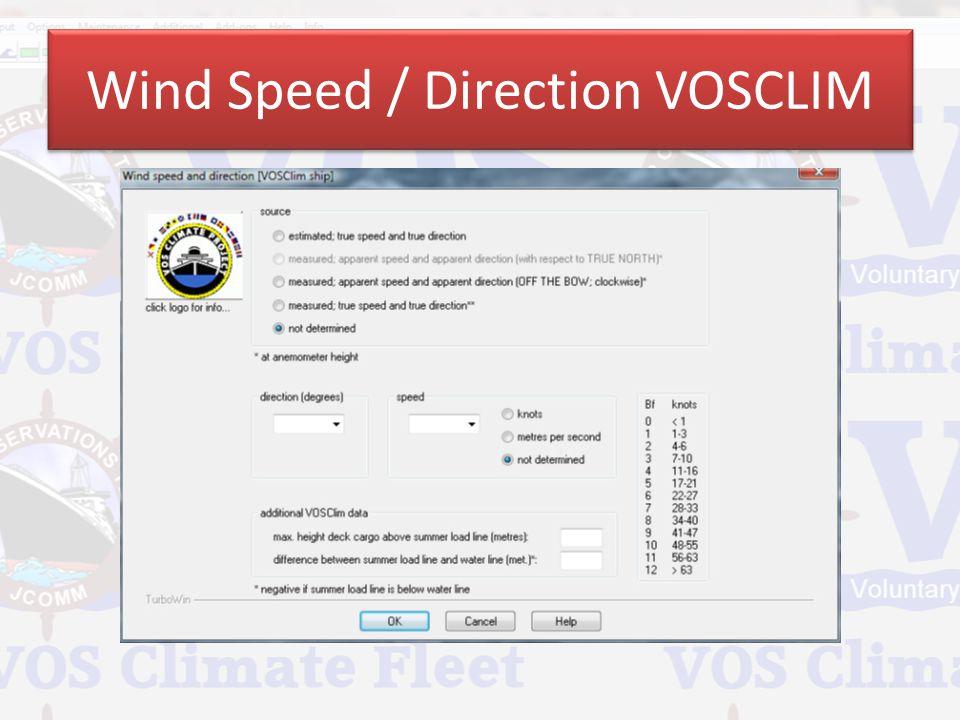 Wind Speed / Direction VOSCLIM