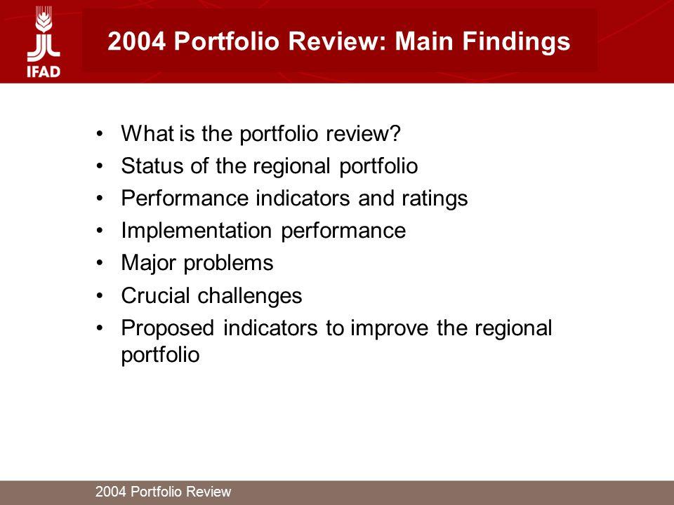 2004 Portfolio Review 2004 Portfolio Review: Main Findings What is the portfolio review.