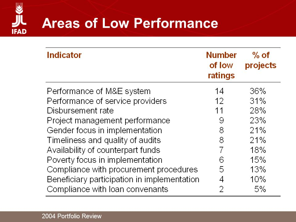 2004 Portfolio Review Areas of Low Performance
