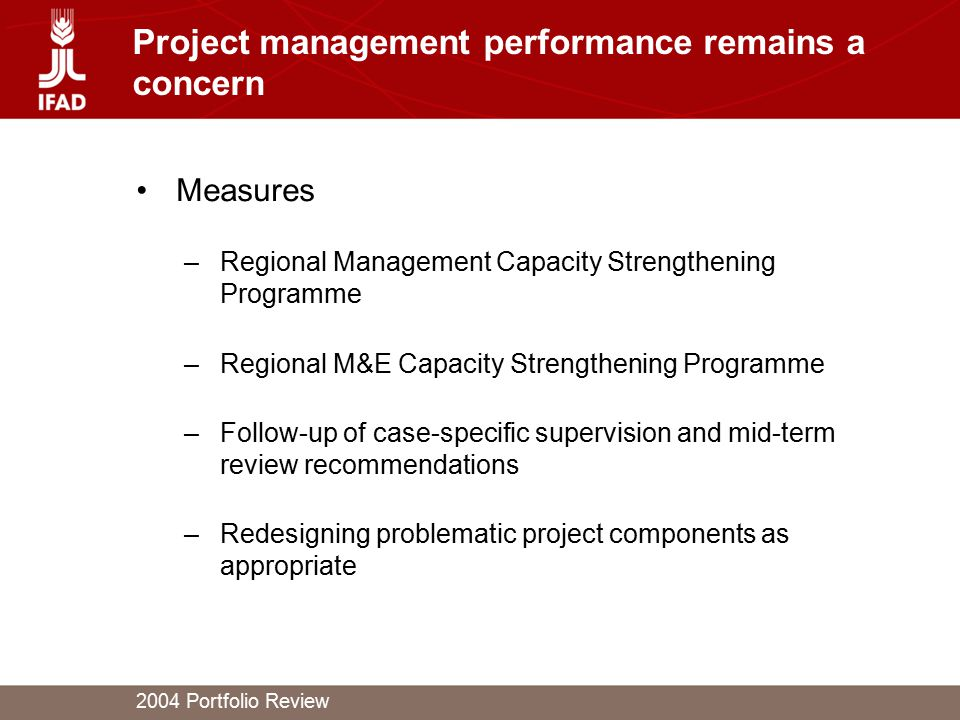 2004 Portfolio Review Project management performance remains a concern Measures –Regional Management Capacity Strengthening Programme –Regional M&E Ca