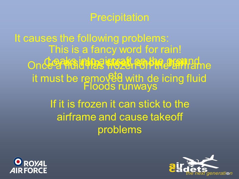 Precipitation This is a fancy word for rain! Covers rain, sleet, snow, hail etc It causes the following problems: Leaks into aircraft on the ground Fl