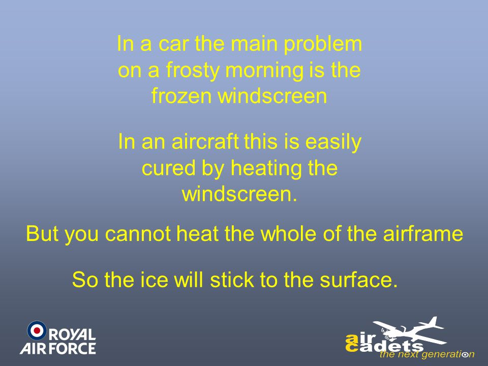 In a car the main problem on a frosty morning is the frozen windscreen In an aircraft this is easily cured by heating the windscreen. But you cannot h