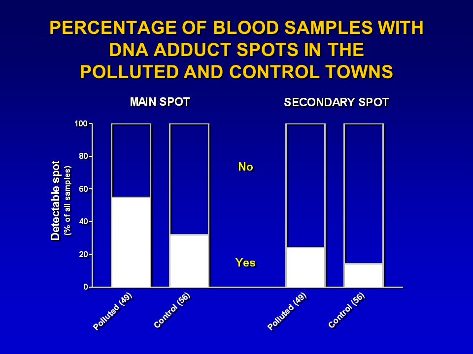 PERCENTAGE OF BLOOD SAMPLES WITH DNA ADDUCT SPOTS IN THE POLLUTED AND CONTROL TOWNS