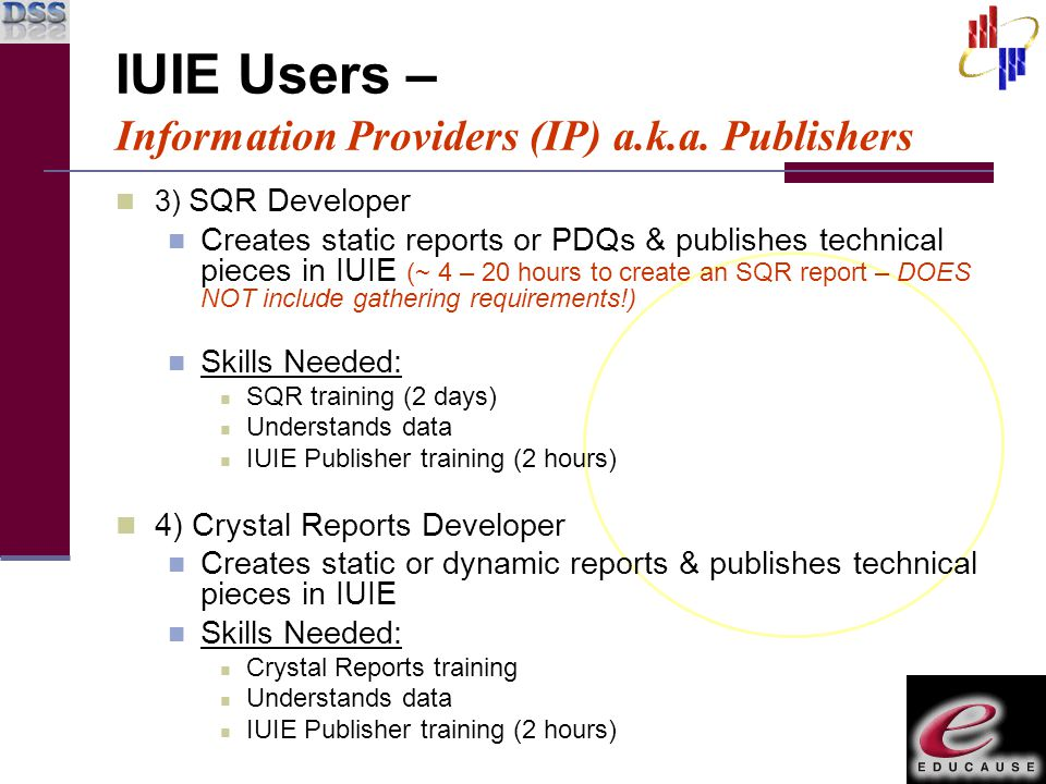 3) SQR Developer Creates static reports or PDQs & publishes technical pieces in IUIE (~ 4 – 20 hours to create an SQR report – DOES NOT include gather