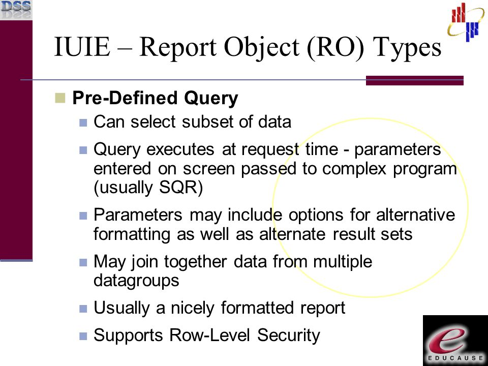 IUIE – Report Object (RO) Types Pre-Defined Query Can select subset of data Query executes at request time - parameters entered on screen passed to co