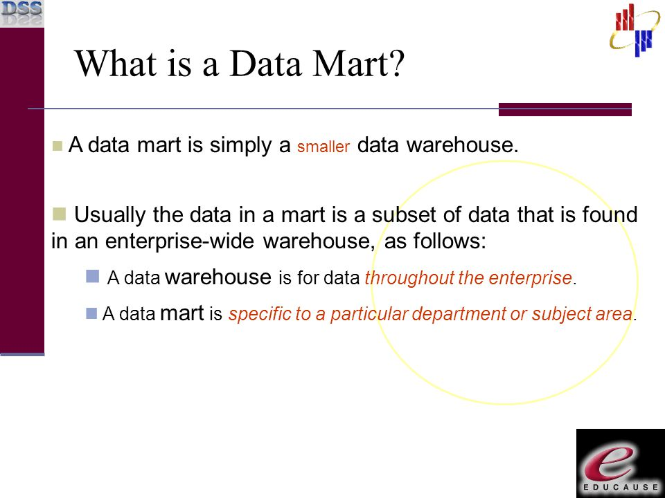 A data mart is simply a smaller data warehouse. Usually the data in a mart is a subset of data that is found in an enterprise-wide warehouse, as follo