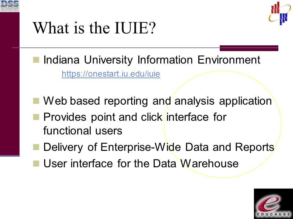 What is the IUIE? Indiana University Information Environment https://onestart.iu.edu/iuie Web based reporting and analysis application Provides point