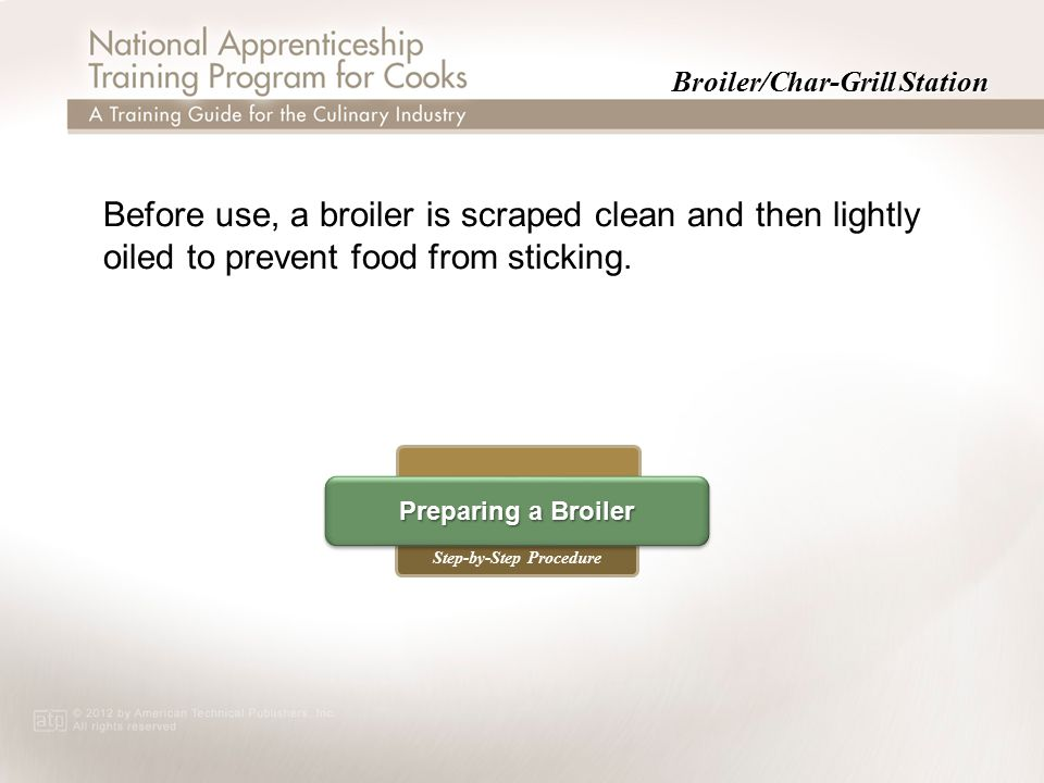 Broiler/Char-Grill Station Step-by-Step Procedure Preparing a Broiler Preparing a Broiler Preparing a Broiler Preparing a Broiler Before use, a broile