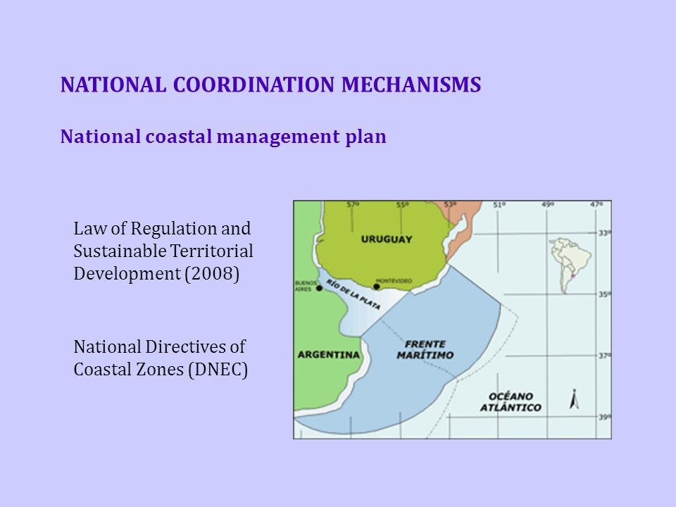 NATIONAL COORDINATION MECHANISMS Law of Regulation and Sustainable Territorial Development (2008)‏ National Directives of Coastal Zones (DNEC) Nationa