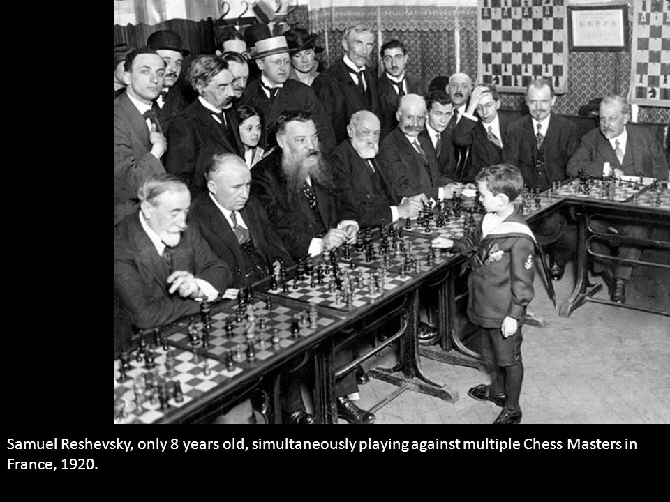Samuel Reshevsky, only 8 years old, simultaneously playing against multiple Chess Masters in France, 1920.