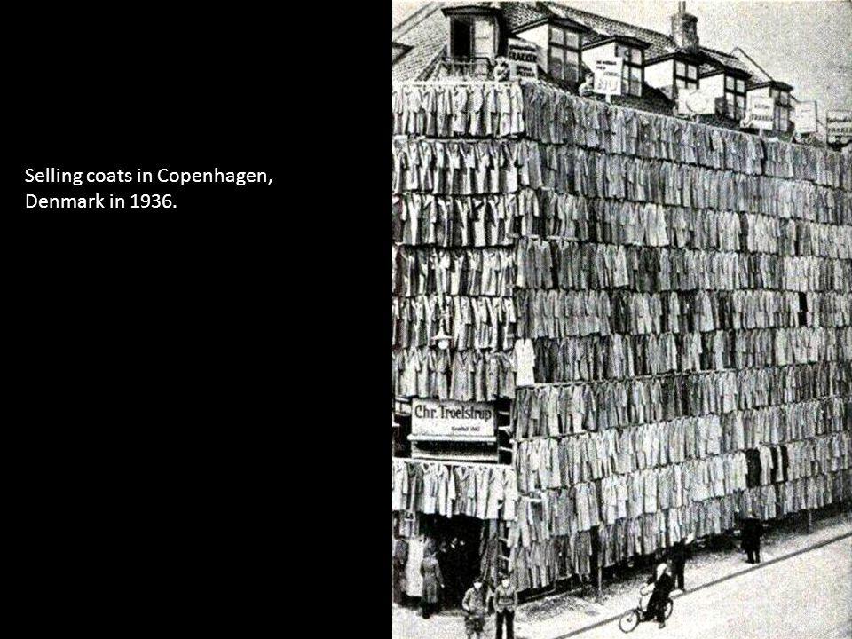 Selling coats in Copenhagen, Denmark in 1936.