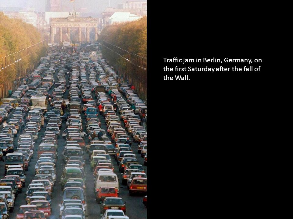 Traffic jam in Berlin, Germany, on the first Saturday after the fall of the Wall.
