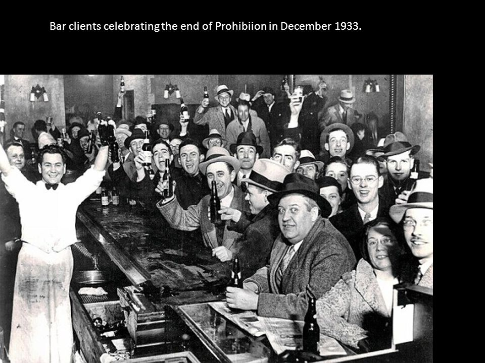 Bar clients celebrating the end of Prohibiion in December 1933.