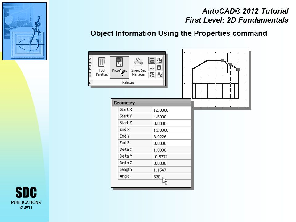 SDC PUBLICATIONS © 2011 AutoCAD® 2012 Tutorial First Level: 2D Fundamentals Object Information Using the Properties command