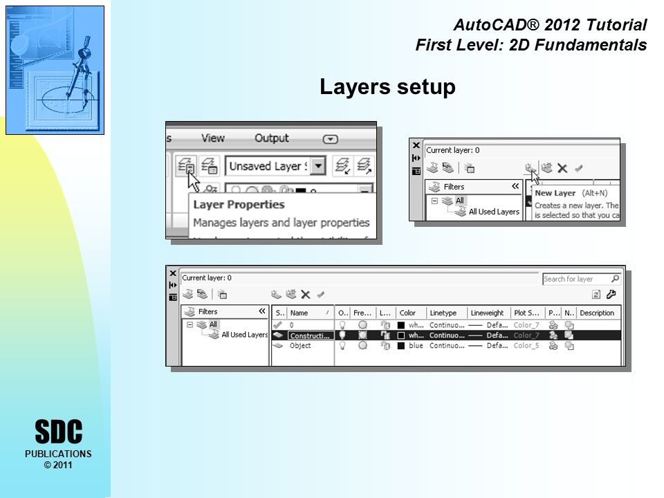 SDC PUBLICATIONS © 2011 AutoCAD® 2012 Tutorial First Level: 2D Fundamentals Drawing Construction Lines Construction lines are lines that extend to infinity.