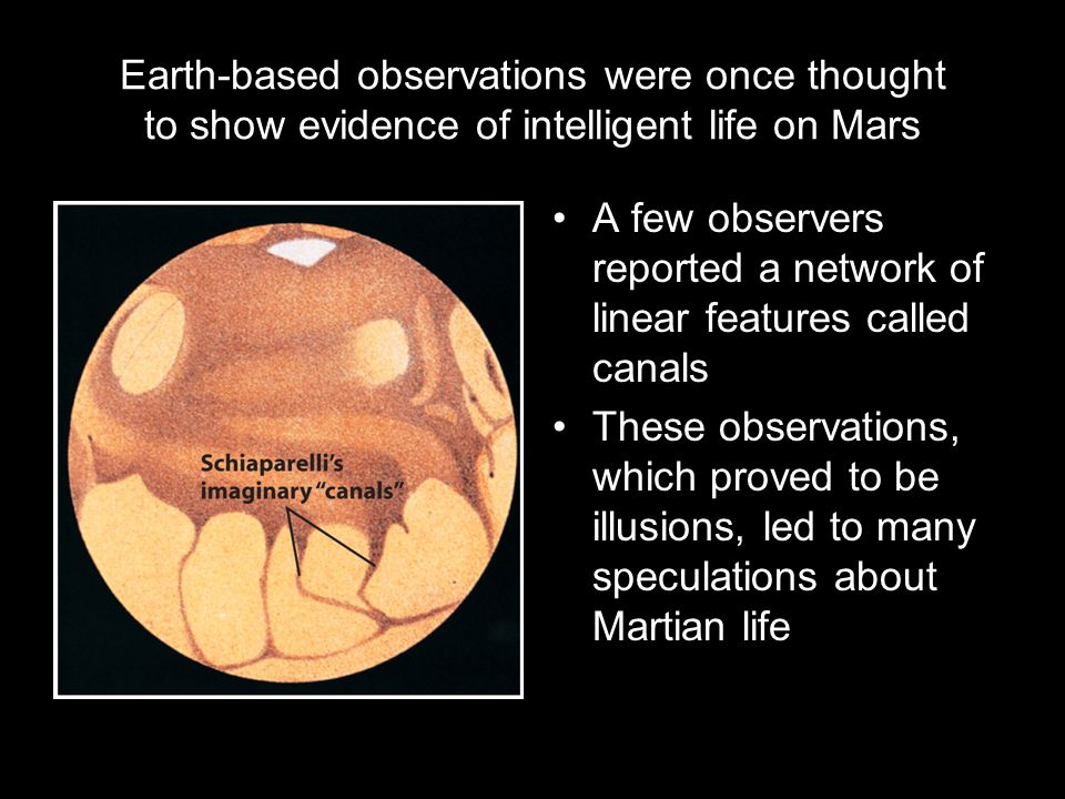 Earth-based observations were once thought to show evidence of intelligent life on Mars A few observers reported a network of linear features called canals These observations, which proved to be illusions, led to many speculations about Martian life