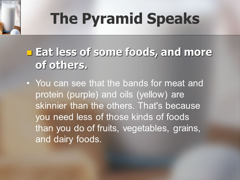 The Pyramid Speaks Eat less of some foods, and more of others.