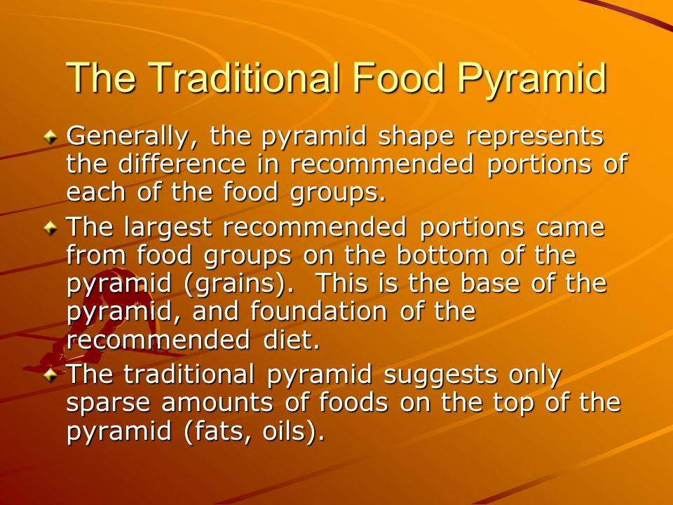 The Traditional Food Pyramid Generally, the pyramid shape represents the difference in recommended portions of each of the food groups.
