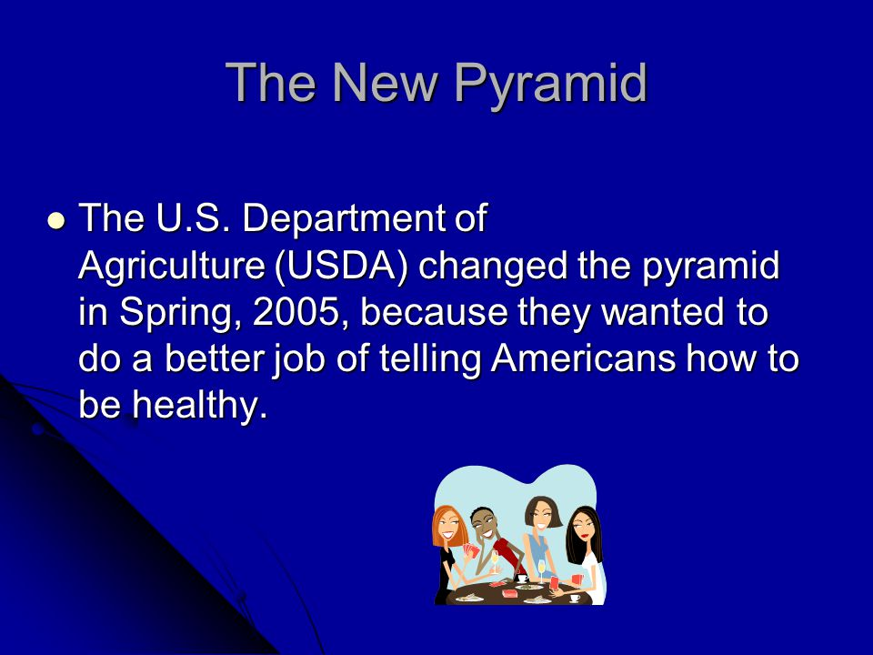 The New Pyramid The pyramid continues to provide recommendations about what people should eat, and how much of each food is needed, to stay healthy.