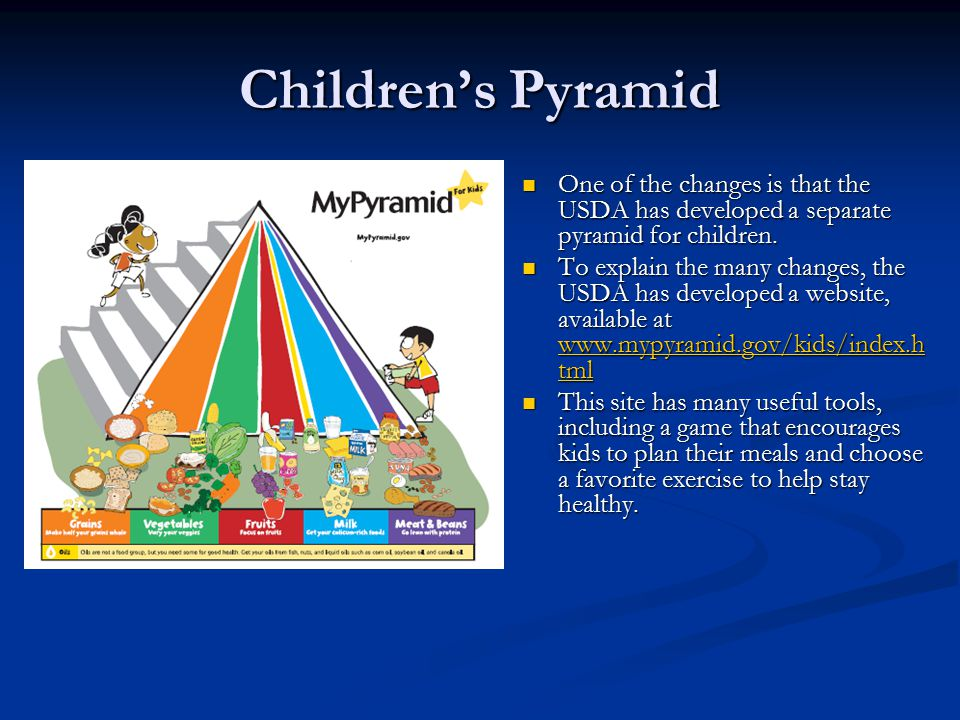 Children's Pyramid The new pyramid for kids has different colors and symbols.