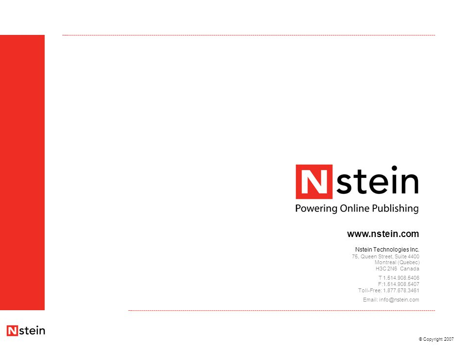 © Copyright 2007 www.nstein.com Nstein Technologies Inc.