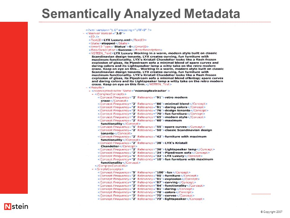 © Copyright 2007 Semantically Analyzed Metadata