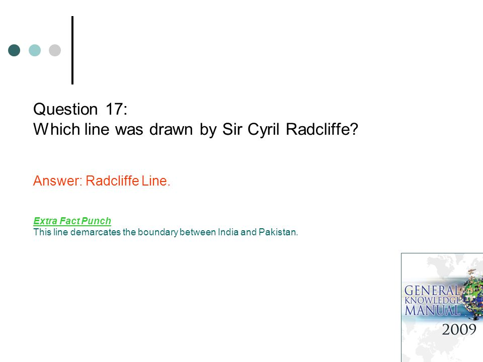 Question 17: Which line was drawn by Sir Cyril Radcliffe.