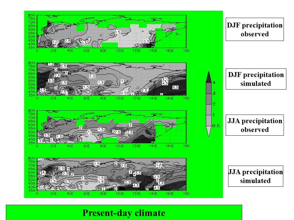 Present-day climate DJF precipitation observed DJF precipitation simulated JJA precipitation observed JJA precipitation simulated