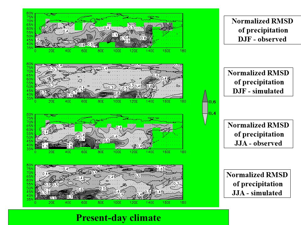 Present-day climate Normalized RMSD of precipitation DJF - observed Normalized RMSD of precipitation DJF - simulated Normalized RMSD of precipitation JJA - observed Normalized RMSD of precipitation JJA - simulated