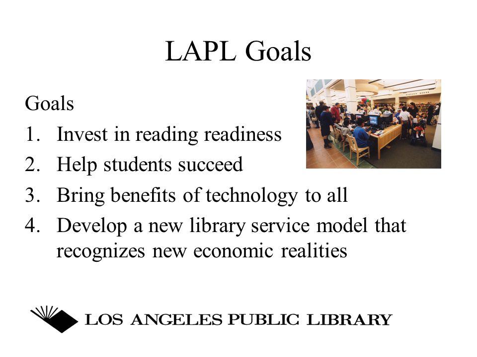 LAPL Goals Goals 1. Invest in reading readiness 2.
