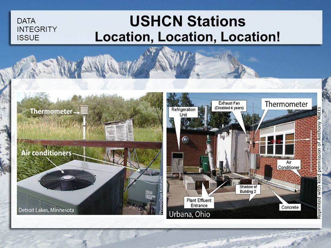 DATA INTEGRITY ISSUE USHCN Stations Location, Location, Location!
