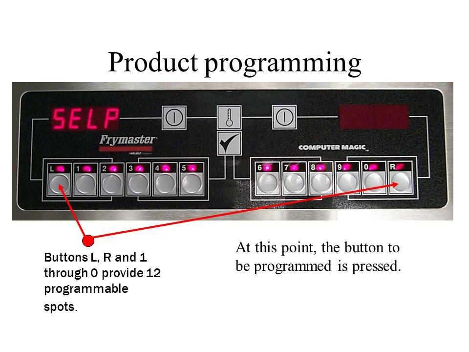 Product programming At this point, the button to be programmed is pressed. Buttons L, R and 1 through 0 provide 12 programmable spots.