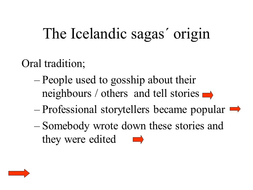The Icelandic sagas´ origin Oral tradition; –People used to gosship about their neighbours / others and tell stories –Professional storytellers became