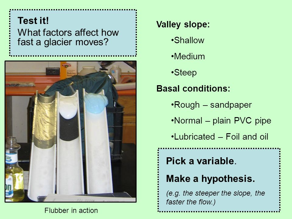 Valley slope: Shallow Medium Steep Basal conditions: Rough – sandpaper Normal – plain PVC pipe Lubricated – Foil and oil Test it! What factors affect