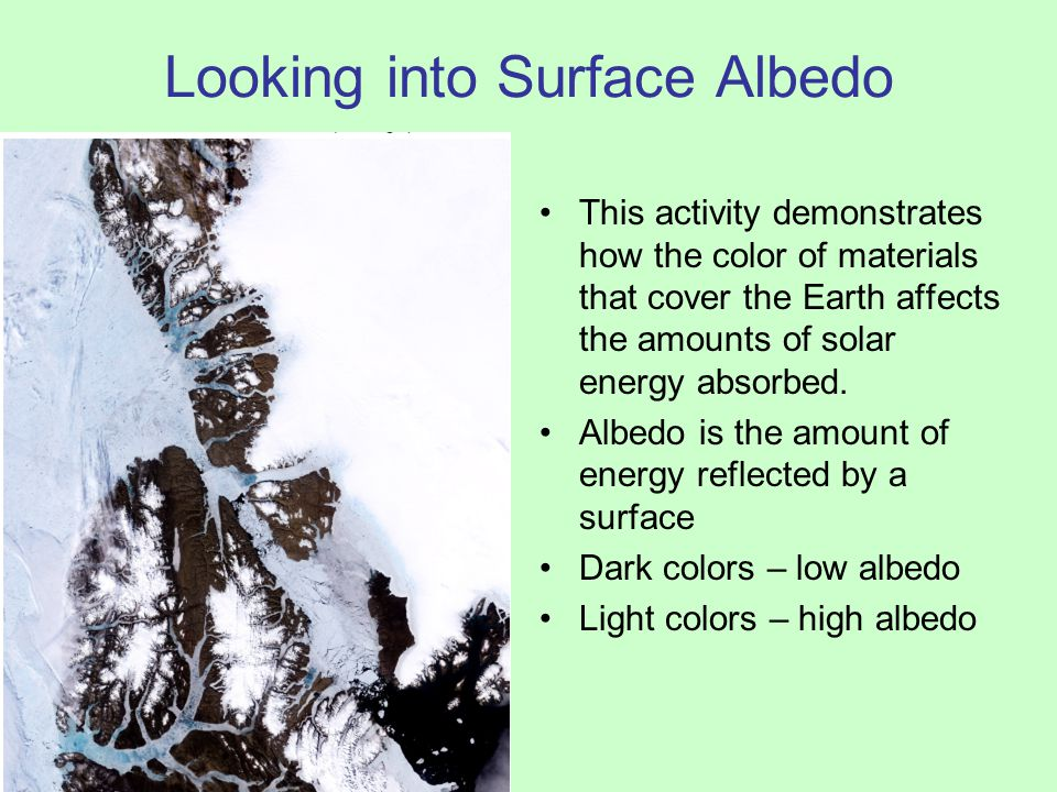 Looking into Surface Albedo This activity demonstrates how the color of materials that cover the Earth affects the amounts of solar energy absorbed. A