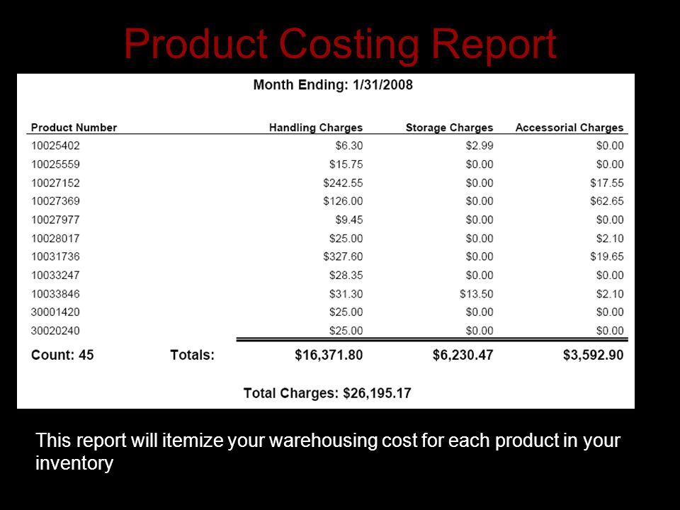 Product Costing Report This report will itemize your warehousing cost for each product in your inventory