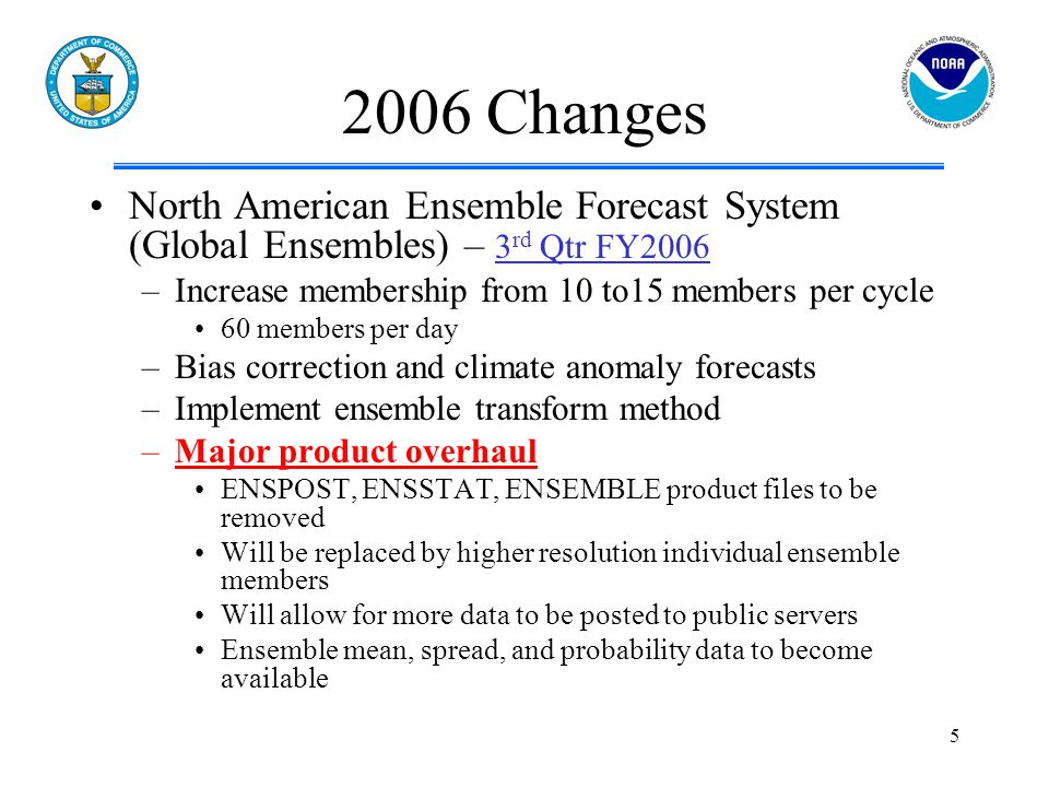 5 2006 Changes North American Ensemble Forecast System (Global Ensembles) – 3 rd Qtr FY2006 –Increase membership from 10 to15 members per cycle 60 members per day –Bias correction and climate anomaly forecasts –Implement ensemble transform method –Major product overhaul ENSPOST, ENSSTAT, ENSEMBLE product files to be removed Will be replaced by higher resolution individual ensemble members Will allow for more data to be posted to public servers Ensemble mean, spread, and probability data to become available