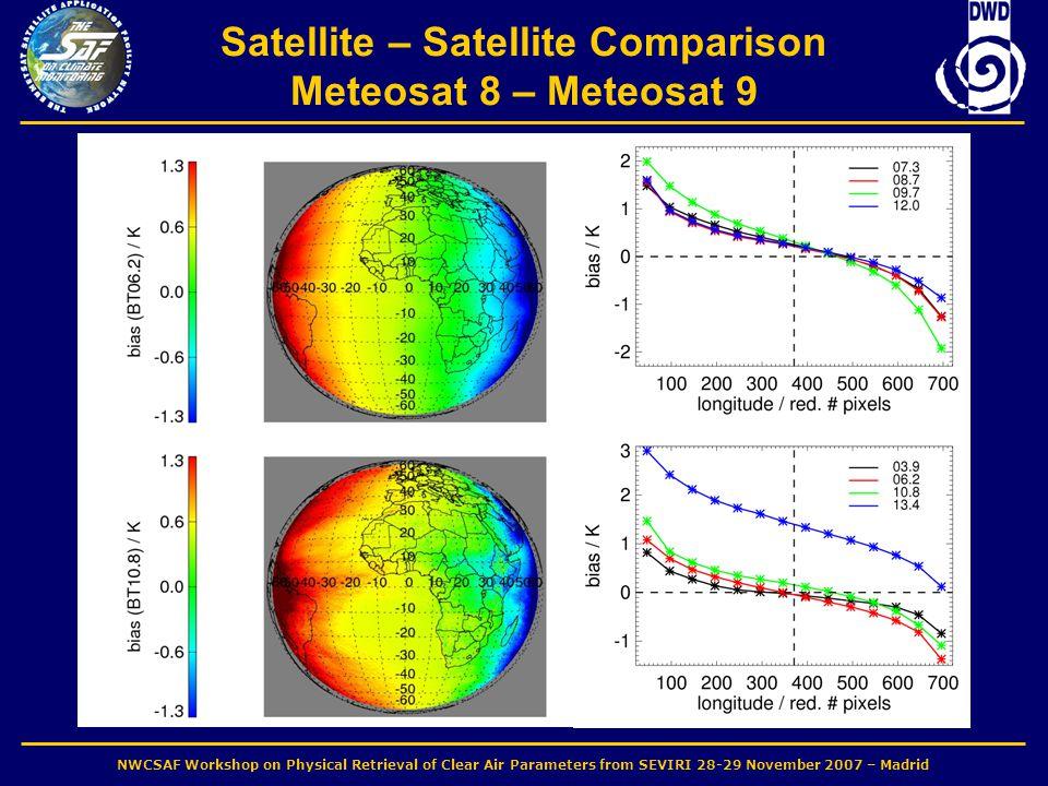 NWCSAF Workshop on Physical Retrieval of Clear Air Parameters from SEVIRI 28-29 November 2007 – Madrid Satellite – Satellite Comparison Meteosat 8 – Meteosat 9