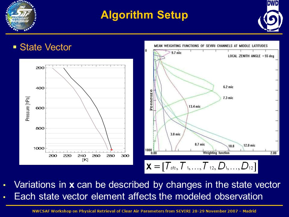 NWCSAF Workshop on Physical Retrieval of Clear Air Parameters from SEVIRI 28-29 November 2007 – Madrid Algorithm Setup  State Vector Variations in x can be described by changes in the state vector Each state vector element affects the modeled observation