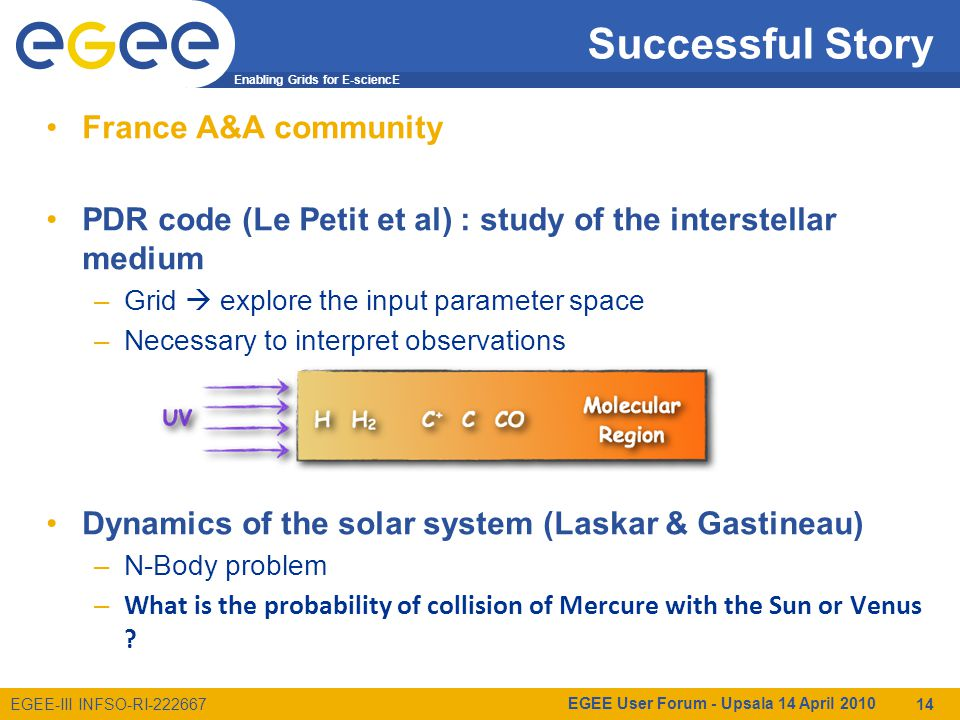 Enabling Grids for E-sciencE EGEE-III INFSO-RI-222667 Successful Story France A&A community PDR code (Le Petit et al) : study of the interstellar medium –Grid  explore the input parameter space –Necessary to interpret observations Dynamics of the solar system (Laskar & Gastineau) –N-Body problem – What is the probability of collision of Mercure with the Sun or Venus .
