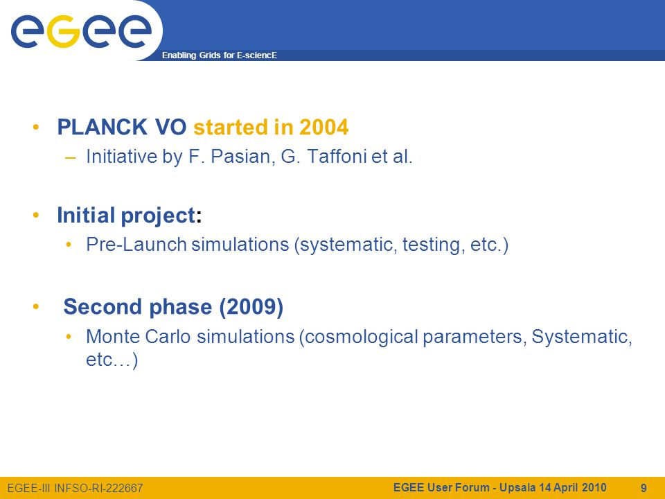 Enabling Grids for E-sciencE EGEE-III INFSO-RI-222667 PLANCK VO started in 2004 –Initiative by F.