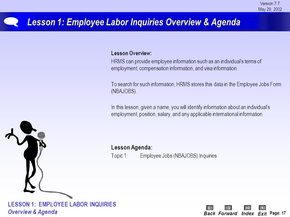 Version 7.7 May 29, 2002 BackForwardIndex Exit Page: 17 Lesson 1: Employee Labor Inquiries Overview & Agenda Lesson Overview: HRMS can provide employe