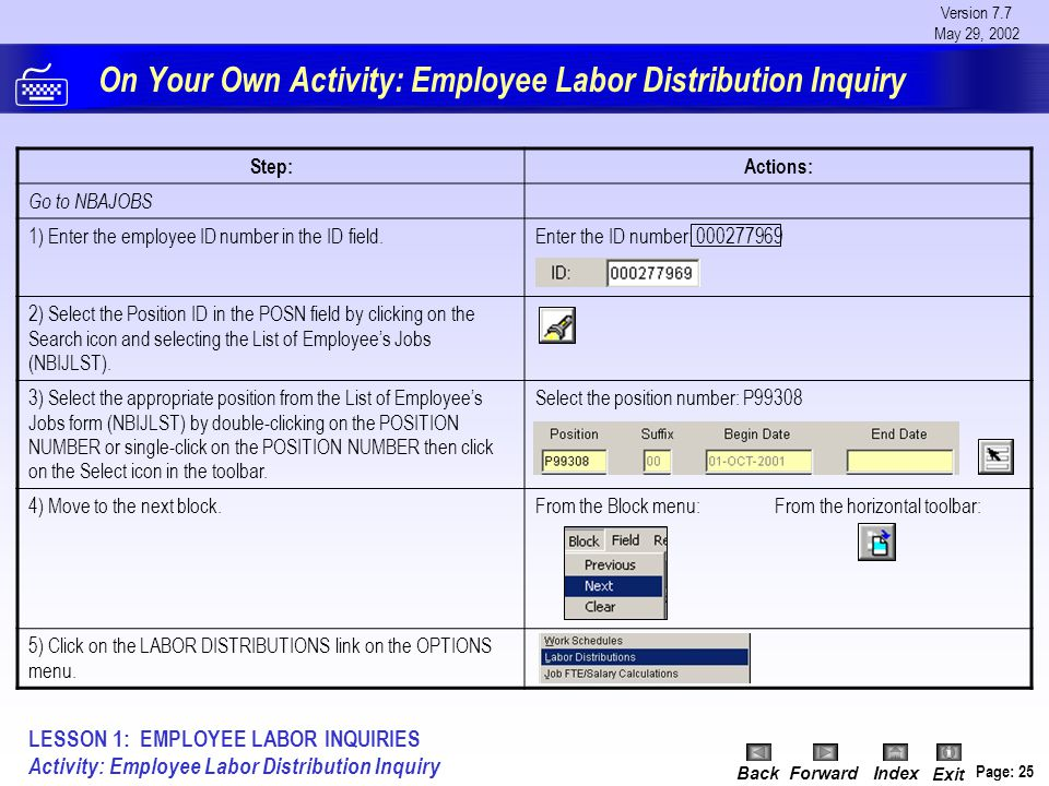 Version 7.7 May 29, 2002 BackForwardIndex Exit Page: 25 On Your Own Activity: Employee Labor Distribution Inquiry Step:Actions: Go to NBAJOBS 1) Enter the employee ID number in the ID field.Enter the ID number: 000277969 2) Select the Position ID in the POSN field by clicking on the Search icon and selecting the List of Employee's Jobs (NBIJLST).