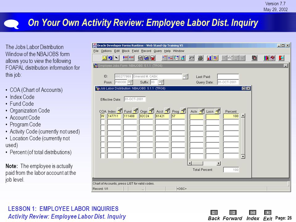 Version 7.7 May 29, 2002 BackForwardIndex Exit Page: 26 On Your Own Activity Review: Employee Labor Dist.