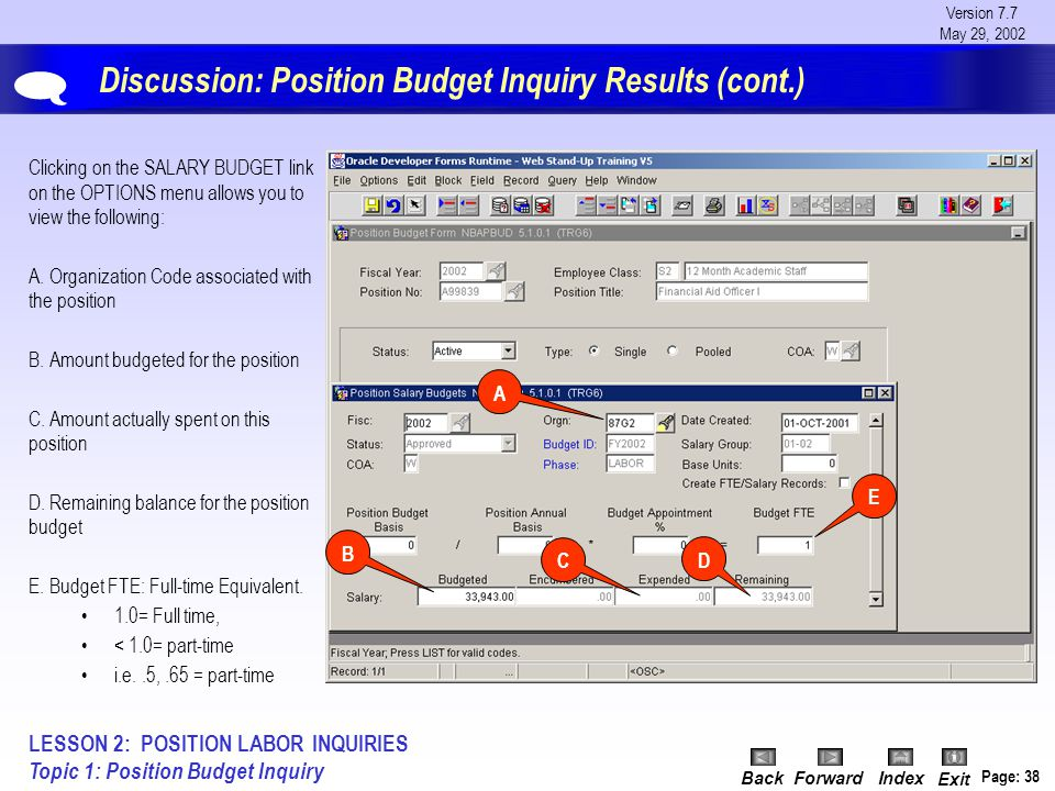 Version 7.7 May 29, 2002 BackForwardIndex Exit Page: 38 Discussion: Position Budget Inquiry Results (cont.) Clicking on the SALARY BUDGET link on the OPTIONS menu allows you to view the following: A.