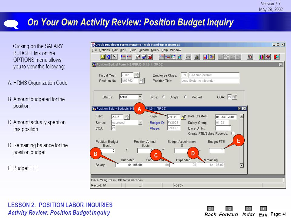 Version 7.7 May 29, 2002 BackForwardIndex Exit Page: 41 On Your Own Activity Review: Position Budget Inquiry Clicking on the SALARY BUDGET link on the OPTIONS menu allows you to view the following: A.HRMS Organization Code B.Amount budgeted for the position C.Amount actually spent on this position D.Remaining balance for the position budget E.Budget FTE A B C D  LESSON 2: POSITION LABOR INQUIRIES Activity Review: Position Budget Inquiry E