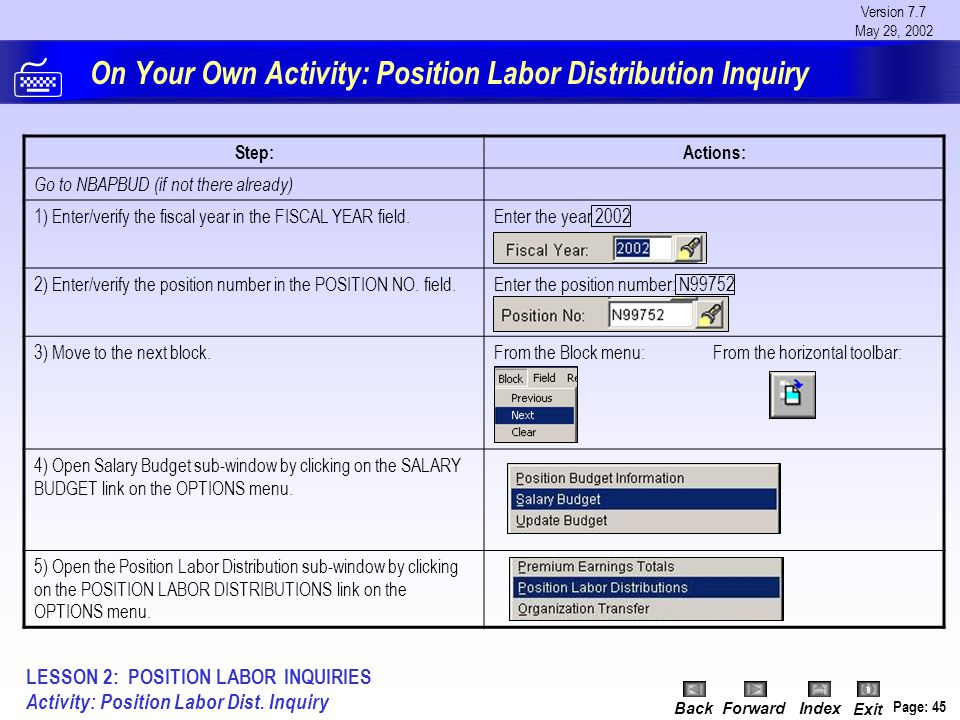Version 7.7 May 29, 2002 BackForwardIndex Exit Page: 45 On Your Own Activity: Position Labor Distribution Inquiry Step:Actions: Go to NBAPBUD (if not
