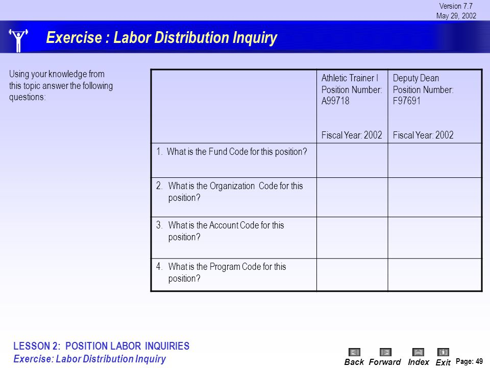 Version 7.7 May 29, 2002 BackForwardIndex Exit Page: 49 Exercise : Labor Distribution Inquiry Athletic Trainer I Position Number: A99718 Fiscal Year: